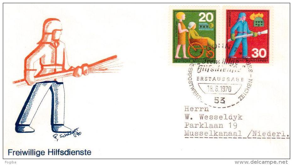 1970 Germania - FDC ,Pompieri, Freiwillige Hilfsdienste - Pompieri