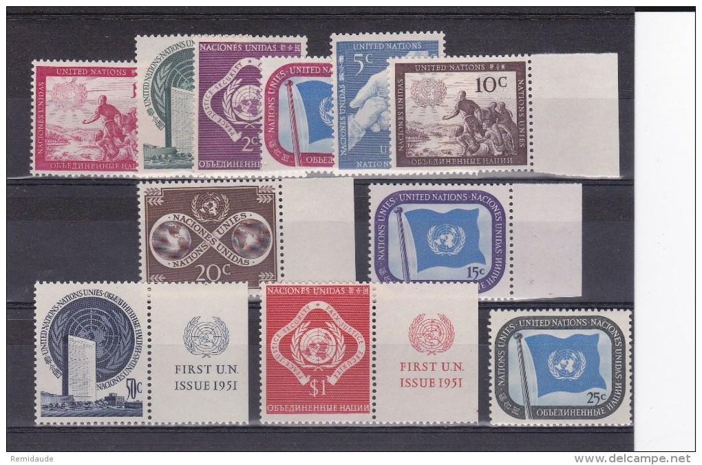 ONU - ANNEE COMPLETE 1951 ** - COTE YVERT = 29 EUR. - New York -  VN Hauptquartier