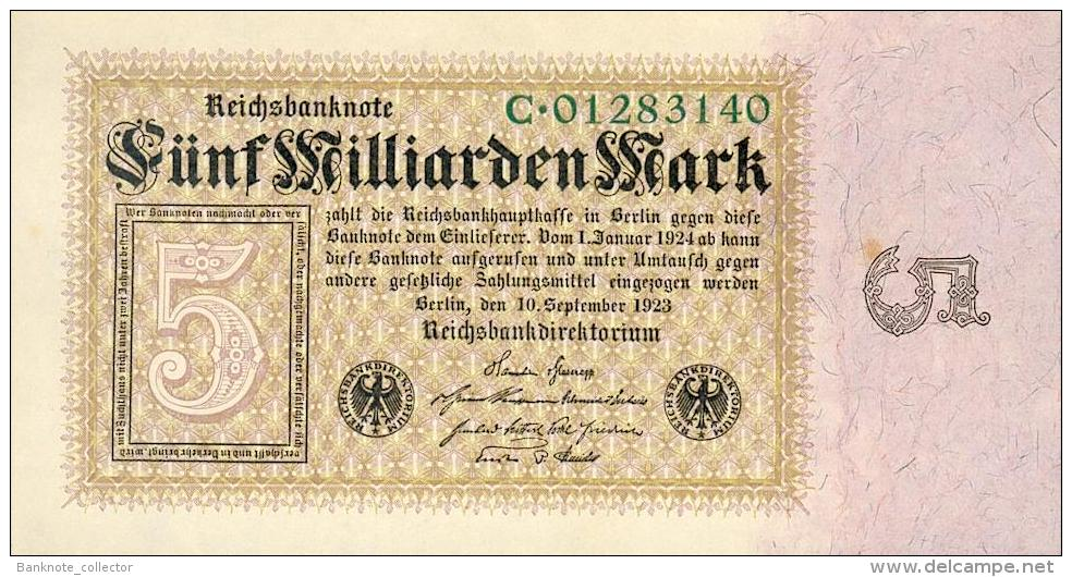Deutschland, Germany - 5 Mrd. Mark, Reichsbanknote, Ro. 112 A,  ( Serie C ) UNC ( I ), 1923 ! - [ 3] 1918-1933 : Weimar Republic