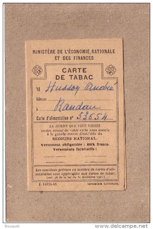 CARTE DE TABAC - Débit 189 Bis  , RANDAN , PUY DE DÔME - TENU PAR MR ELAMBERT - POUR MR HUSSON - Documents