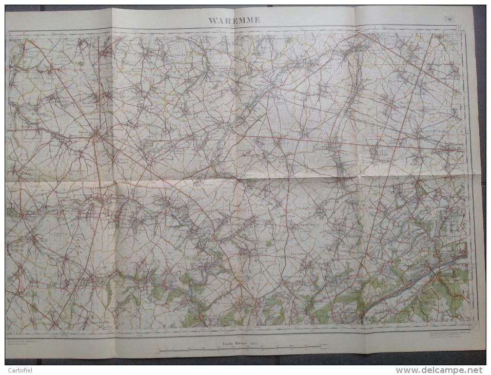 WAREMME-ST-TROND-GINGELOM-HANNUT-BRAIVES-CARTE TOPOGRAPHIQUE-LITHO-1933-L´INSTITUT CARTOGRAPHIQUE MILITAIRE-VOYEZ 2SCANS - Cartes Topographiques
