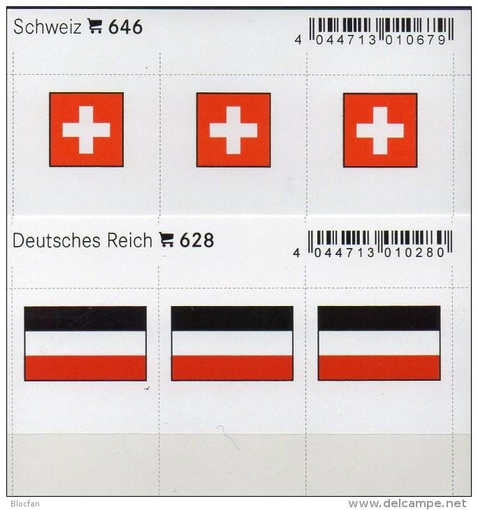 2x3 In Farbe Flaggen-Sticker Schweiz+Deutschland 4€ Kennzeichnung Alben Karten Sammlung LINDNER 628+646 Helvetia 3.Reich - Tarjetas Telefónicas