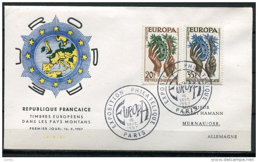 "First Day Cover Frankreich,France 1957 Mi.Nr.1157/58FDC ""Cept-EUROPA,Hände,Zahnrad "" 1 FDC - Europa-CEPT"