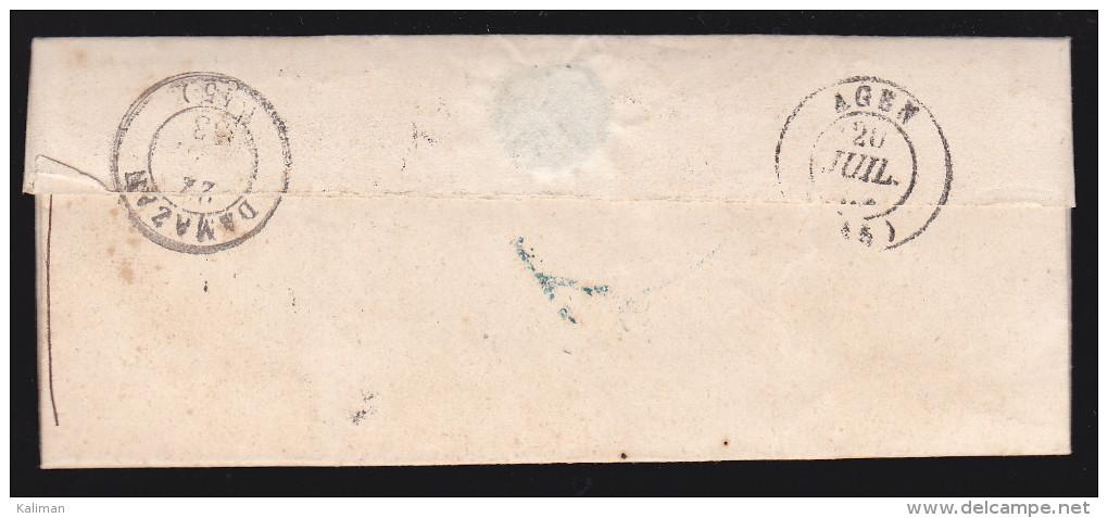 France - Lettre Taxée Obl 1853 - Cachets: Lauzerte / Agen / Damazan - 1849-1876: Classic Period