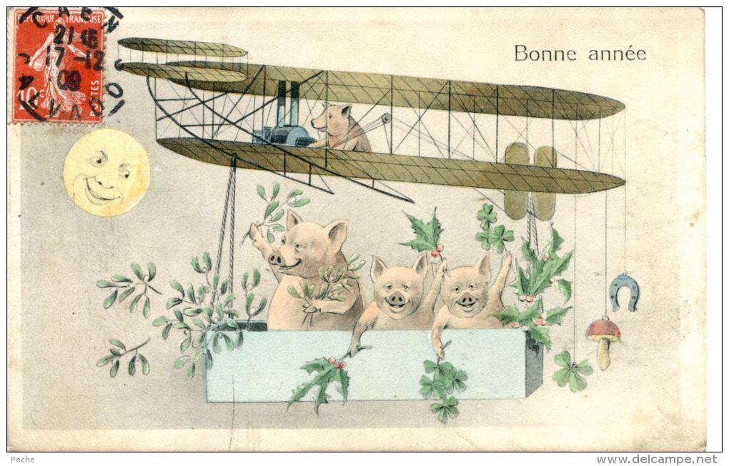 N°37651 -cpa Bonne Année -cochons- - Cochons
