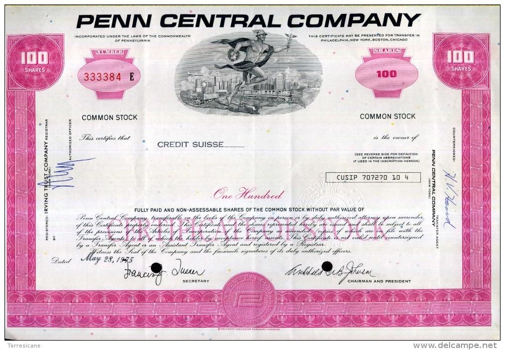 X CERTIFICATO AZIONARIO PENN CENTRAL COMPANY 1975  100 SHARES STOCK - Chemin De Fer & Tramway