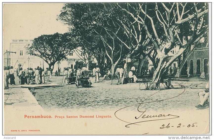 Pernambuco Praça Santos Dumond Lingueta Edicion Ramiro M, Costa Used 1905 - Recife