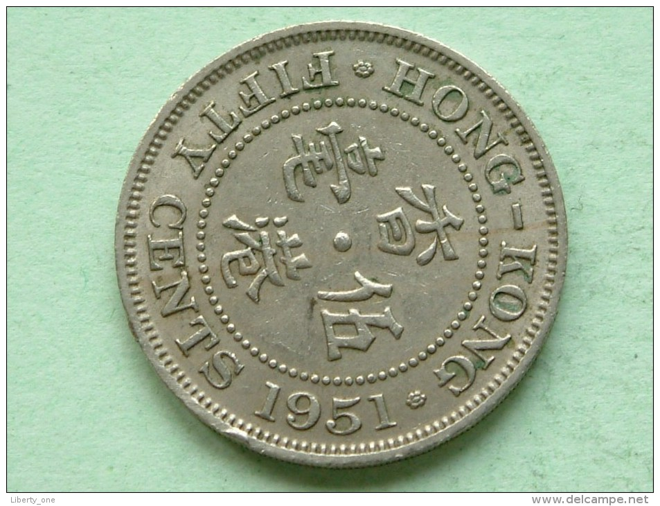 1951 - 50 Cents / KM 27.1 ( Uncleaned Coin / For Grade, Please See Photo ) !! - Hong Kong