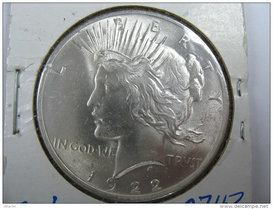 US USA 1 ONE PEACE  DOLLAR  1922 SILVER  GRADE CHICE BU  . - Émissions Fédérales