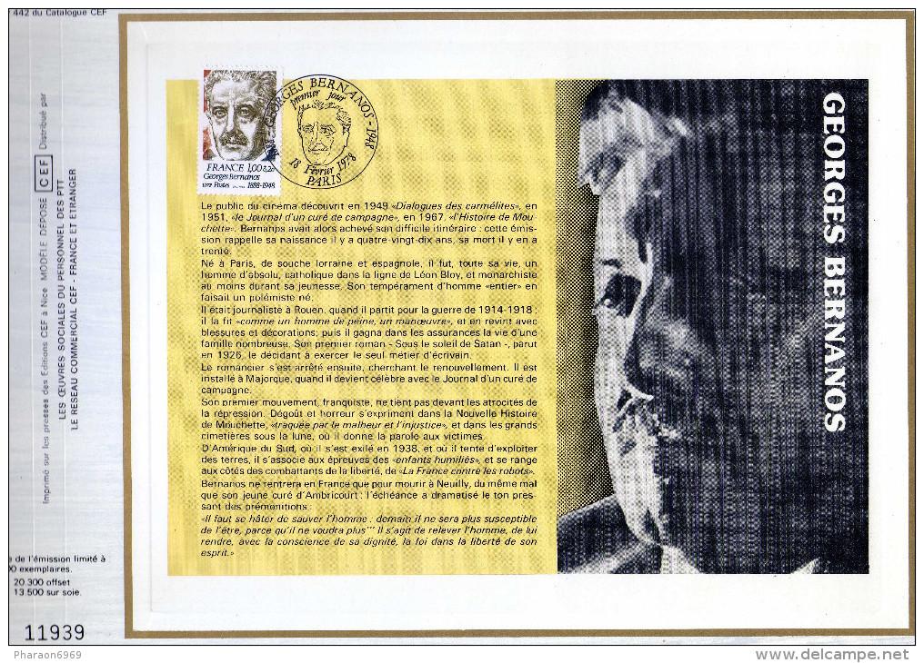 Feuillet Tirage Limité CEF 442 Georges Bernanos - Other