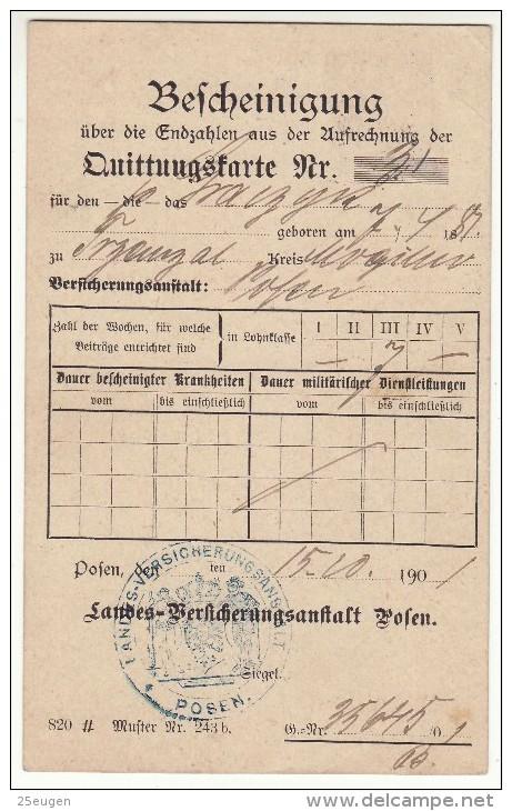 POLAND / GERMAN ANNEXATION 1901  POSTCARD  SENT FROM  POZNAN TO GNIEZNO - ....-1919 Übergangsregierung