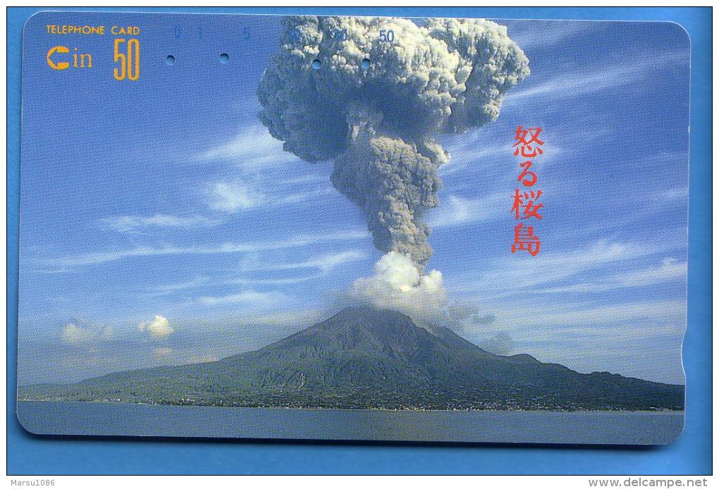 Japan Japon Télécarte Telefonkarte Phonecard - Mountain Berg Vulkan Volcan  390 - 01712 - Volcans
