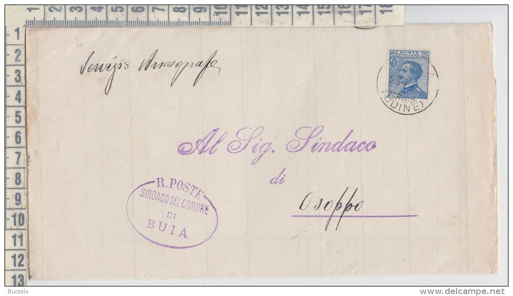 Regno Buia Udine / Osoppo 25/7/1923  Manoscritti Aperti  Tariffa Rid. Sindaci  Francobollo  Cent. 25 - 1900-44 Victor Emmanuel III