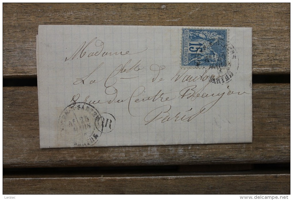 Lettre Affranchie Type Sage Pour Paris Oblitération Type 18 Noyen Sur Sarthe - Postmark Collection (Covers)