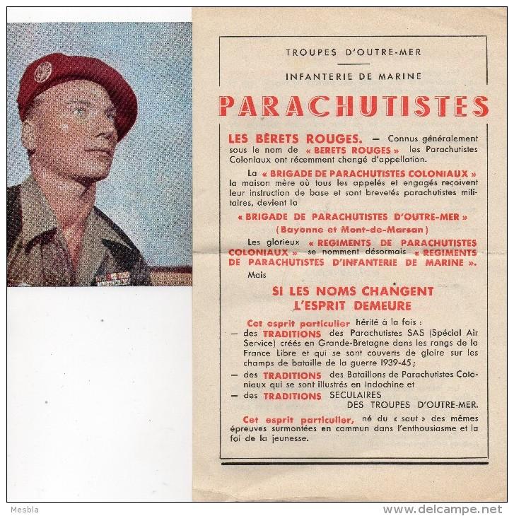 PROSPECTUS - TROUPES D' OUTRE- MER - INFANTERIE DE MARINE - PARACHUTISTES + 1 PHOTO - Militaria