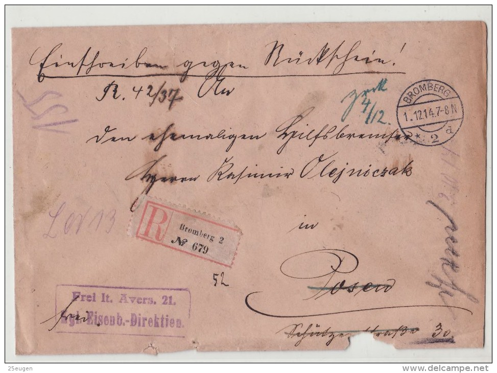 POLAND / GERMAN ANNEXATION 1914  R- LETTER  SENT FROM  BYDGOSZCZ  TO  POZNAN - ....-1919 Übergangsregierung