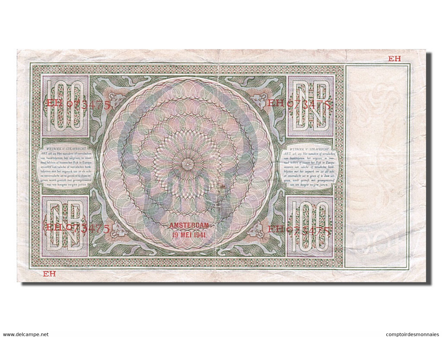 [#254923] Pays-Bas, 100 Gulden, Type 1939-1941 - [2] 1815-… : Royaume Des Pays-Bas