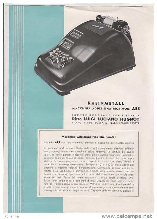 C1403 - PUBBLICITA' MACCHINA ADDIZIONATRICE RHEINMETALL MOD.AES Anni '50 - MACCHINE UFFICIO CALCOLATORI - Pubblicitari