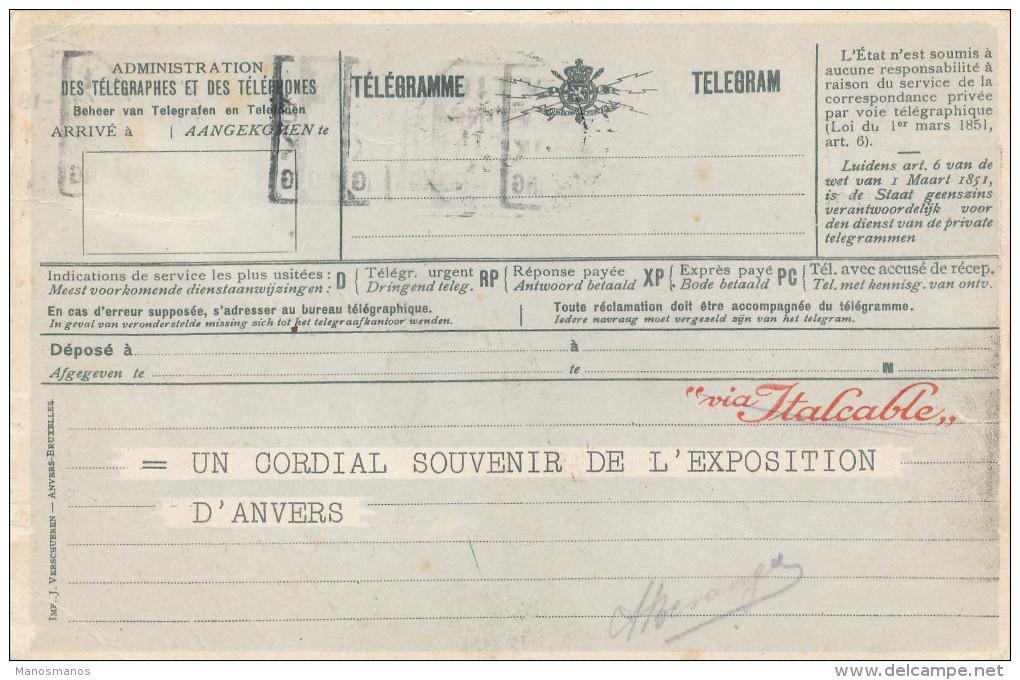 335/22 - SUPERBE Carte Publicitaire Télégrammes Via Italcable - Expo Anvers 1930 - TP Houyoux BXL Vers BINCHE - 1922-1927 Houyoux