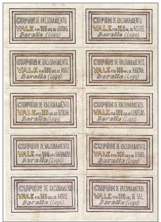 027-*SPAIN CIVIL WAR*10 UNCUT COUPONS*GUERRA CIVIL ESPAÑOLA*BARALLA*LUGO *SOLDIER INSTRUCTION - 1939-45