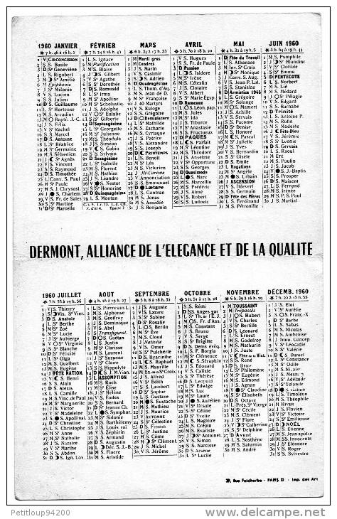 CALENDRIER   MONTRES DERMONT  1960  C - Calendari