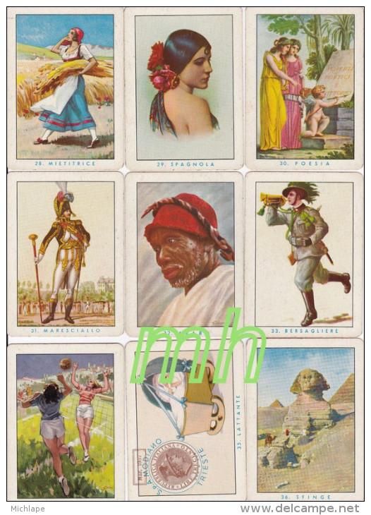 TAROT, DIVINATOIRE  ,VOYANCE, CARTOMANCIE , JEU DE 40 CARTES  ANCIENNES 9 CmX 6,5   BON ETAT - Tarots