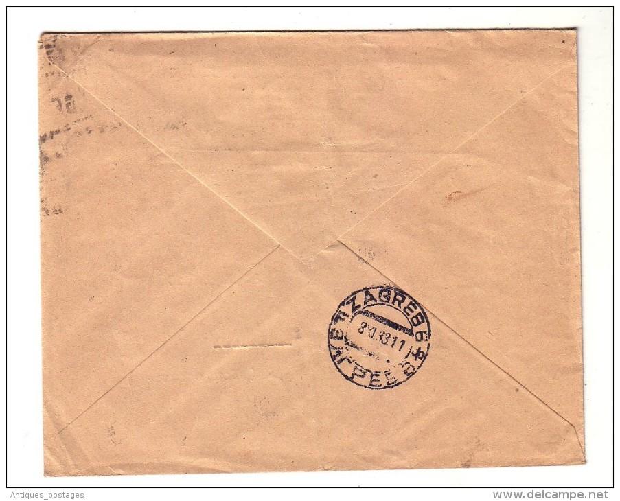 Compagnie Algérienne Alger Algérie Zagreb Yougoslavie Semeuse Surcharge 1933 - Algeria (1924-1962)