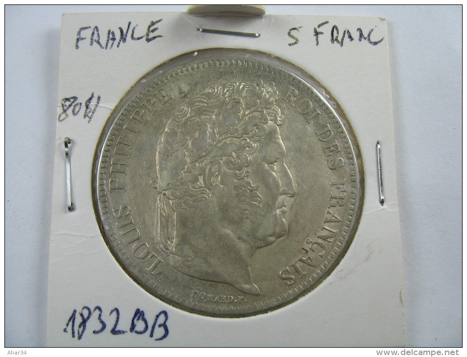 FRANCE  5 FRANCS 1832 BB SILVER RARE COIN LOT 6 - France