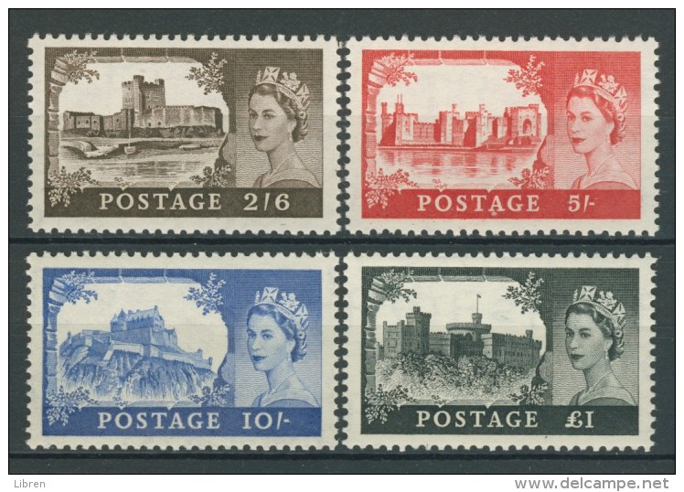 BL5-102 GREAT BRITAIN 1955 YV 283-286A DLR ISSUE, CASTLES, CHATEAUX MNH, POSTFRIS, NEUF**. - Ongebruikt