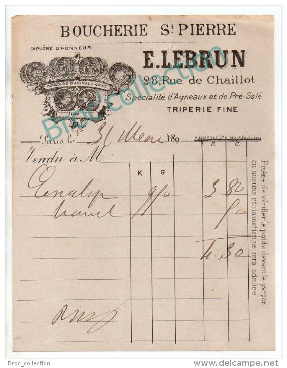 Paris, Boucherie Saint-Pierre, E. Lebrun, Rue De Chaillot, Triperie, Facture 1890.... - France
