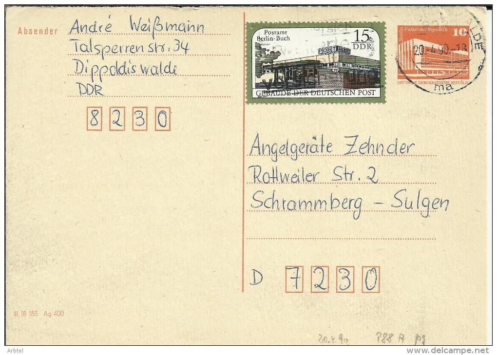 ALEMANIA DDR ENTERO POSTAL CIRCULADO  DIPPOLDIS WALDE - [6] República Democrática