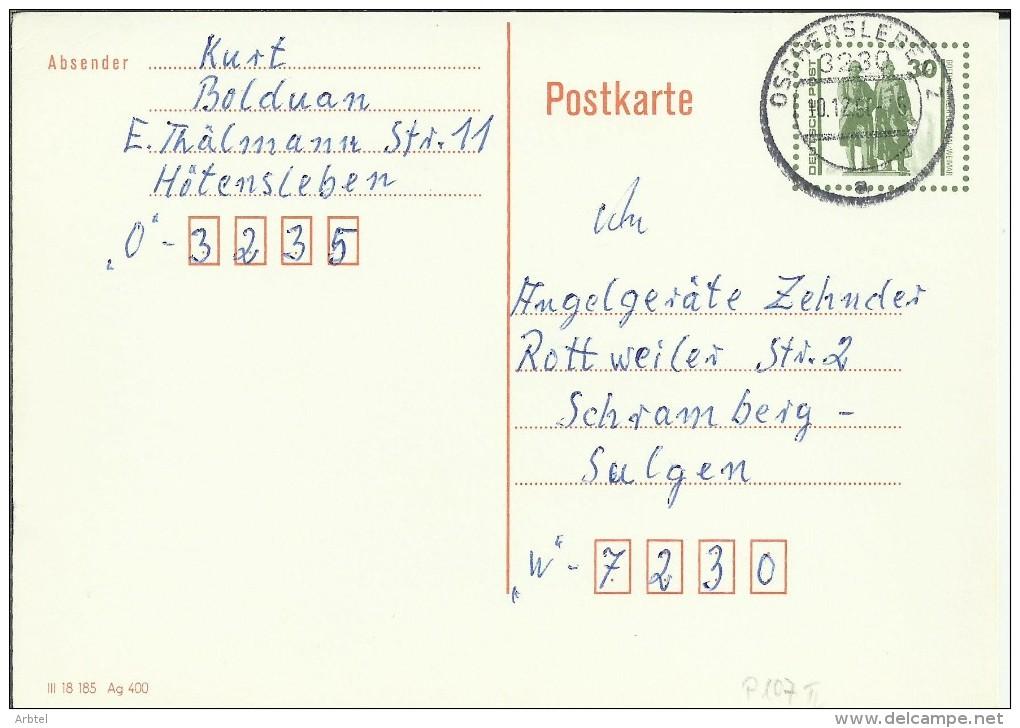 ALEMANIA DDR ENTERO POSTAL MAT OSCHERSLEBE - [6] República Democrática