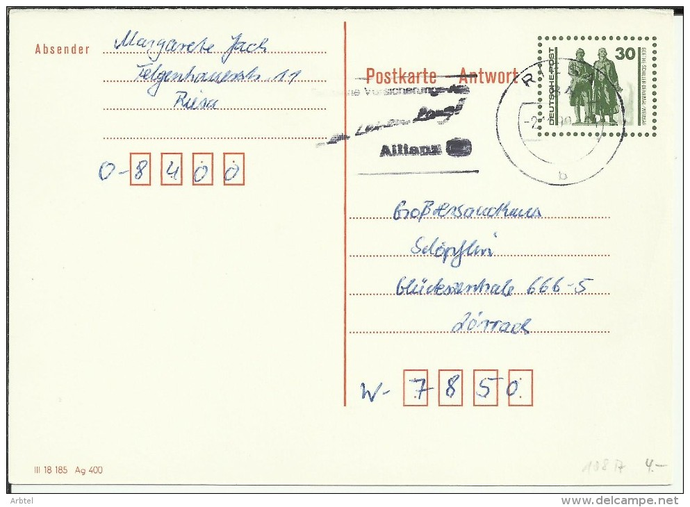 ALEMANIA DDR ENTERO POSTAL MAT RIESA ALLIANZ - Postales - Usados