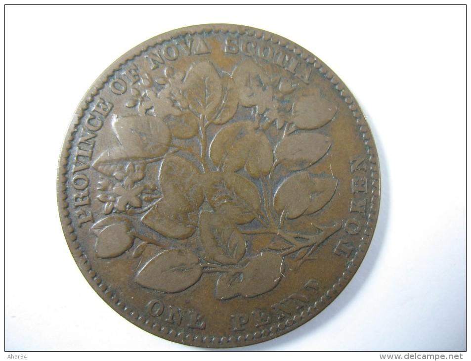 CANADA NOVA SCOTIA 1 ONE PENNY TOKEN 1856 LARGE COIN RARE - Monnaies