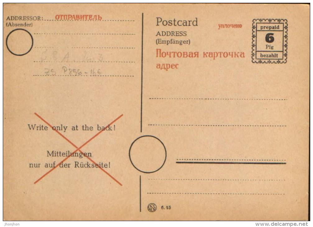 Deutschland/Soviet Zone,Mecklenburg- Vorpommern - Postal Stationery Postcard Unused 1945 - P896  - 2/scans - Zone Soviétique