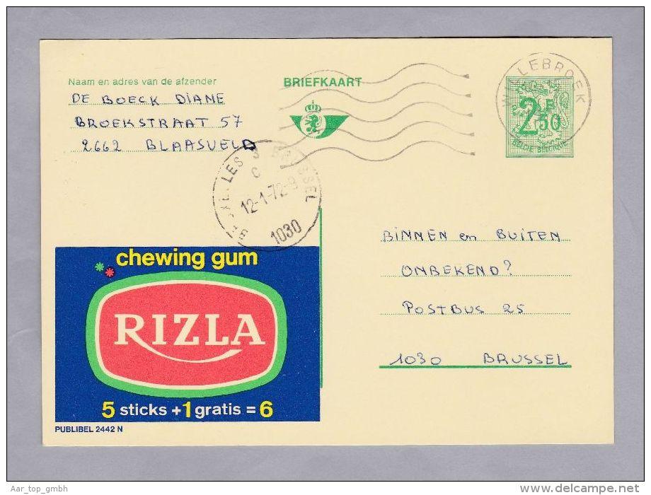 """MOTIV Lebensmittel 1972-01-12 Werbe-Ganzsache """"RIZLA"""" Chewing Gum - Enteros Postales"""
