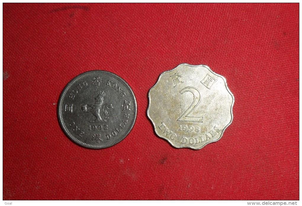 """One Dollars Hong Kong"""" De 1992 Et 2 Dollars 1998 En TTB+ - Hong Kong"""