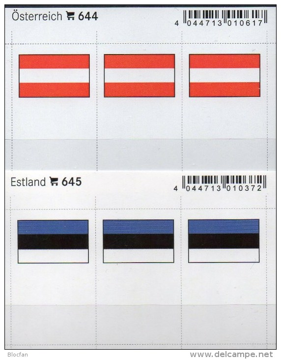 2x3 In Farbe Flaggen-Sticker Österreich+Estland 4€ Kennzeichnung Alben Karte Sammlung LINDNER 644+645 Flag Eesti AUSTRIA - Klasseerkaarten
