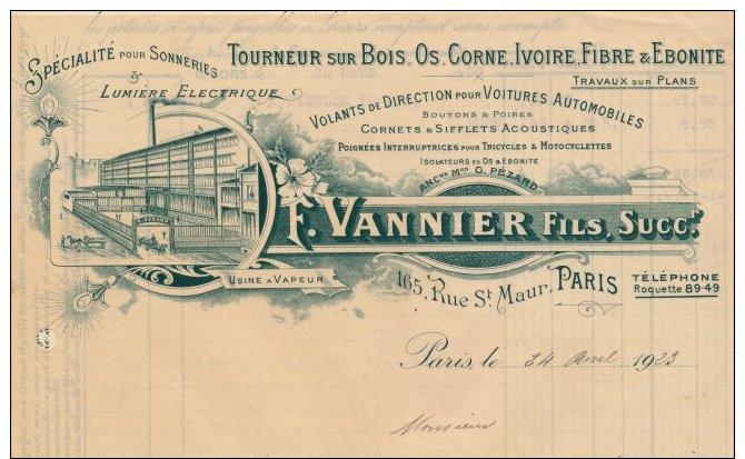 """Facture Illustrée """"  F.VANNIER Fils """" Tourneur Sur Bois,os,corne,ivoire,fibre Et ébonite,165 Rue St Maur Paris - Non Classés"""