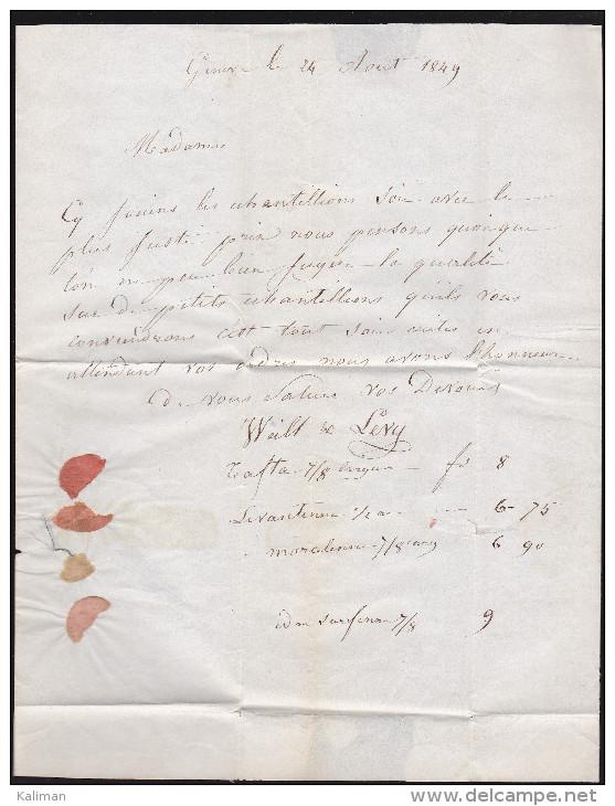 Suisse - Lettre Obl. 1849 - Cachet Genève Rouge Pour Albertville - Poststempel