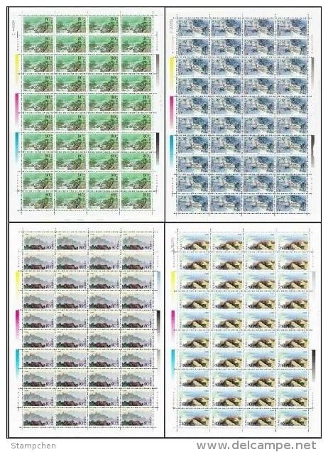 China 2000-14 Laoshan Mountain Stamps Sheets Mount Geology Rock Lake Season Waterfall - 1949 - ... People's Republic