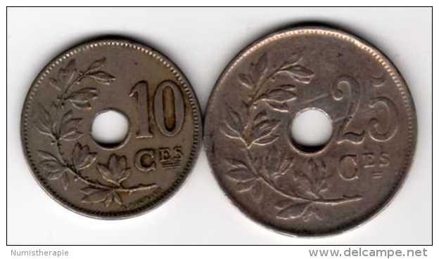 Belgique : 10 Centimes 1927 & 25 Centimes 1923 : Albert I : Français - Non Classés
