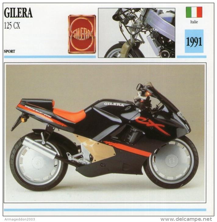 FICHE TECHNIQUE MOTO - DÉTAILS CARACTERISTIQUE AU DOS GILERA 125 CX 1991 SPORT - Motor Bikes