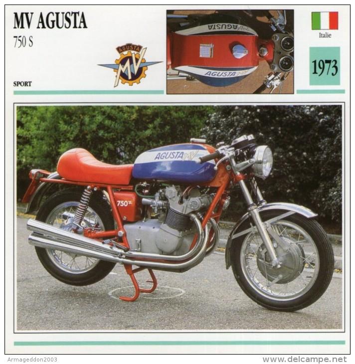 FICHE TECHNIQUE MOTO - DÉTAILS CARACTERISTIQUE AU DOS MV AGUSTA 750 S 1973 / SPORT - Motor Bikes