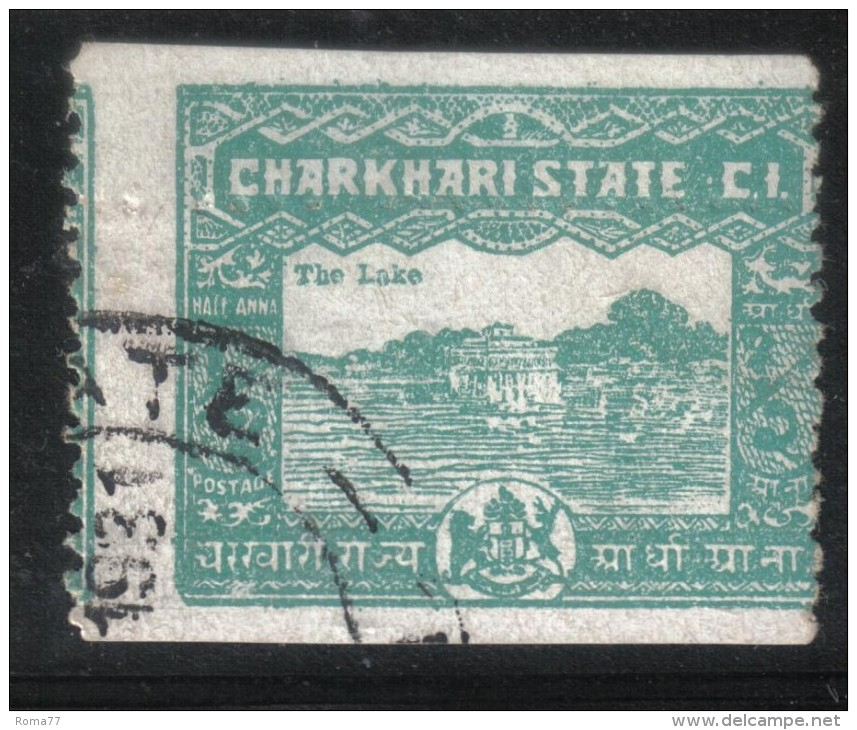 AP656 - STATI INDIANI , CHARKHARI : 1/2 Anna Non Dentellato Orizzontalmente. Usato - Charkhari