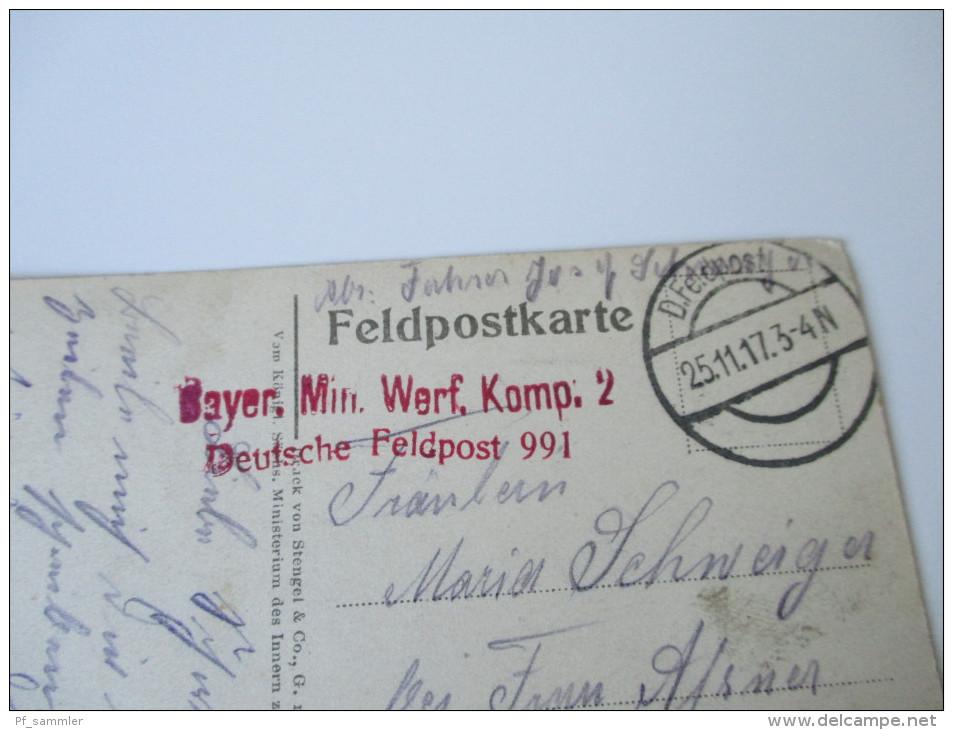 AK / Bildpostkarte 1. WK Eroberte Franz. 15cm Ringkanone. Roter Stempel Bayer. Min. Werf. Komp. 2 Deutsche Feldpost 991 - Ausrüstung