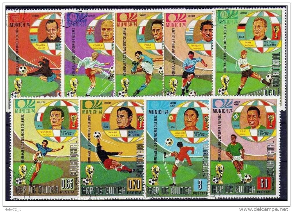 Guinea Equatoriale - 1973 - Usato/used - Mondiali Calcio - Mi N. 307/15 - 1974 – West-Duitsland