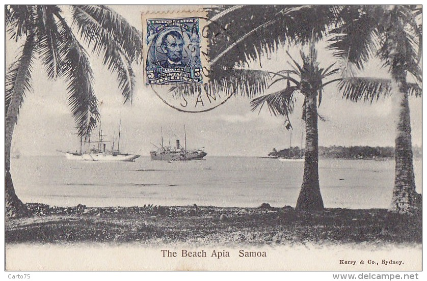 Océanie -  / Samoa / The Beach Apia / Bâteaux Voiliers / Postal Mark  Pago Pago 1906 - Samoa