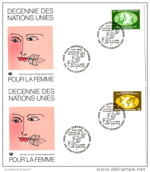 FEM-L4 - NATIONS UNIES 2 FDC POUR LA FEMME 1980 - FDC