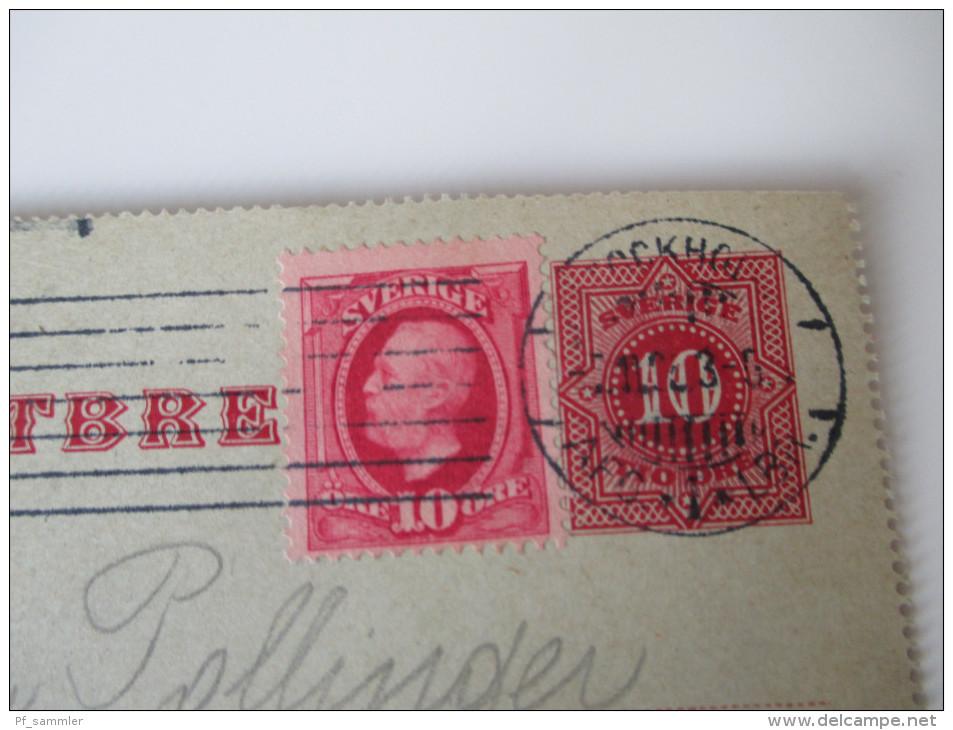 Schweden 1906 Kartenbrief Mit Zusatzfrankatur Nach Österreich. Stockholm-Wien - Schweden